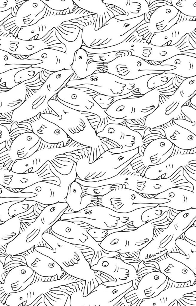 Demian kleurplaat vissen patroon Esher